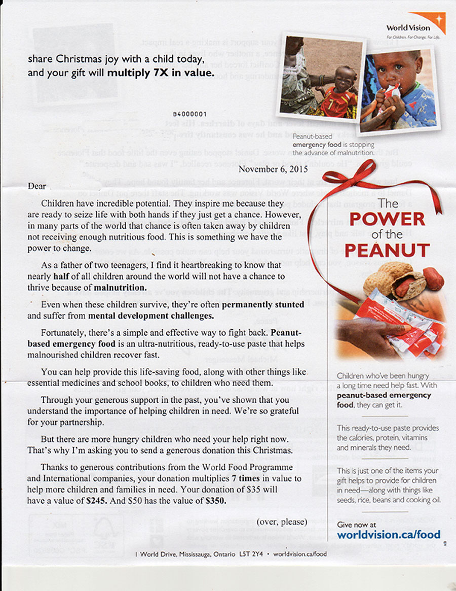 fundraising appeal letter for world vision canaada fundraising appeal letter